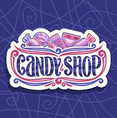 Vector logo for Candy Shop, on cut paper signage 5 wrapped sweets in pink and blue plastic package, original font for words candy shop, lollipop in striped wrap, fruit hard candies in glossy wrapping. poster