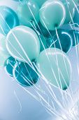 Blue air balloons background, big bunch of a helium balloons, happy birthday celebration, surprise for holiday, party decoration poster