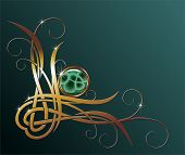 golden decorative element with malachite for your design poster