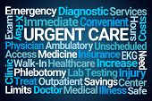 Urgent Care Word Cloud on Blue Background poster