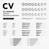 CV Resume design elements - Skills icons set - minimal iconography vector - black and white infographics poster