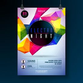 Night Dance Party Poster Design With Abstract Modern Geometric Shapes On Shiny Background. Electro S