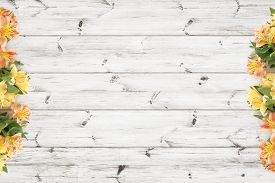 Beautifull Flowers Is Over Wood Planks Background