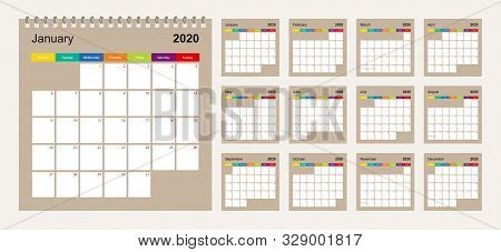 Calendar 2020 Colorful Design, Set Of 12 Vector Wall Planner Calendar Pages On Beige Background. Wee