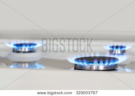 Gas Stove. Three Gas-burner. Natural Gas In The House. Bhutan, Propane. Copy Space.