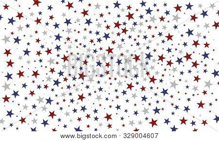 Festive Colorful Background. Usa Celebration Confetti Stars In National Colors For Veterans Day, Pre