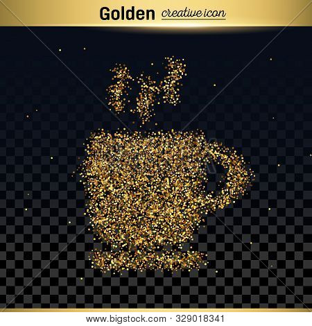 Gold Glitter Vector Icon Of Coffee Cup Isolated On Background. Art Creative Concept Illustration For
