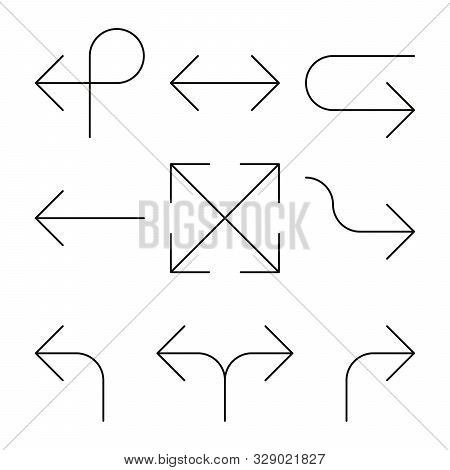Set Of Arrows. Simple Thin Black Line Arrow Design. Flat Vector Icons