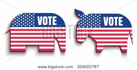 Vector Animals Donkey And Elephant Like American Flag. Republican And Democrat Political Parties Usa