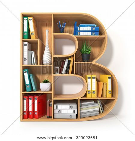 Letter B. Alphabet in the form of shelves with file folder, binders and books isolated on white. Archival, stacks of documents at the office or library. 3d illustration