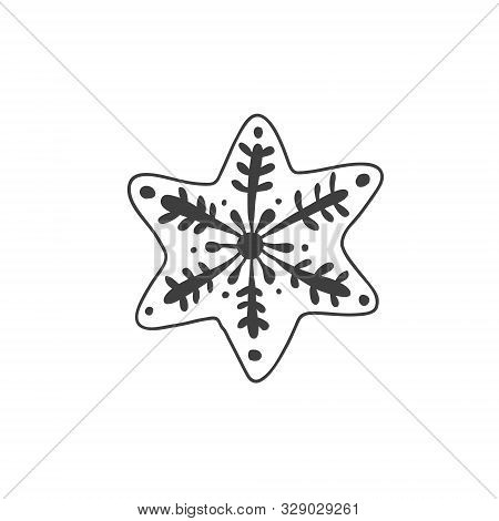 Star Drawing. Vector Linear Illustration In Doodle Style. Gingerbread Cookie In The Shape Of A Ginge