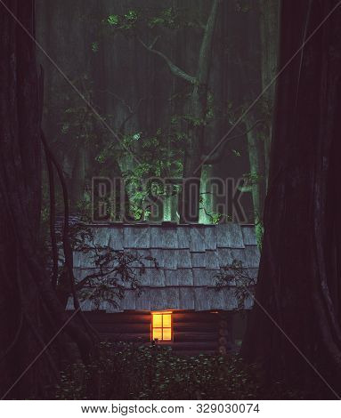 Light From Window Of An Old Cabin In Haunted Forest,3d Illustration