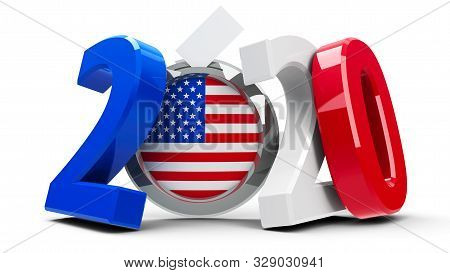 Figures 2020 In The Colors Of American Flag With Badge Isolated On White Background, Represents Pres