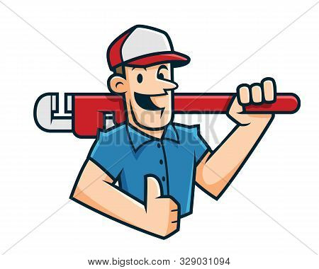 Plumber Mascot, Plumber Character, Worker Cartoon Happy