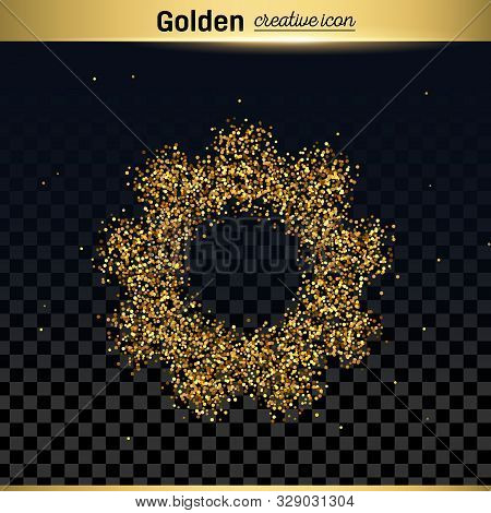 Gold Glitter Vector Icon Of Gear Wheel Isolated On Background. Art Creative Concept Illustration For
