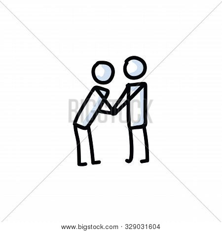 Hand Holding Stick Figure Vector Illustration. Compassion Communication With Stickman Drawing. Bulle