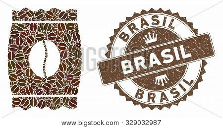 Mosaic Coffee Bean Pack And Grunge Stamp Seal With Brasil Phrase. Mosaic Vector Coffee Bean Pack Is