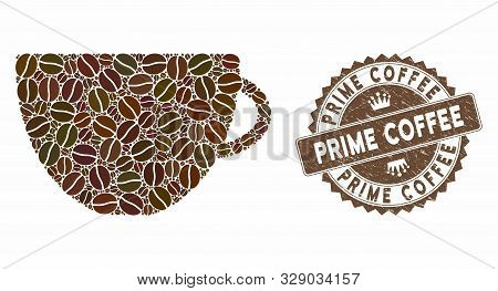 Mosaic Tea Cup And Corroded Stamp Seal With Prime Coffee Caption. Mosaic Vector Tea Cup Is Formed Wi