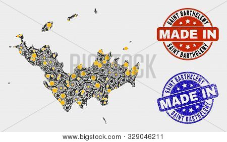 Mosaic Technical Saint Barthelemy Map And Blue Made In Grunge Stamp. Vector Geographic Abstraction M