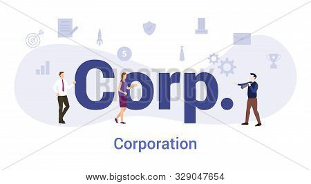 Corp Or Corporation Concept With Big Word Or Text And Team People With Modern Flat Style - Vector Il
