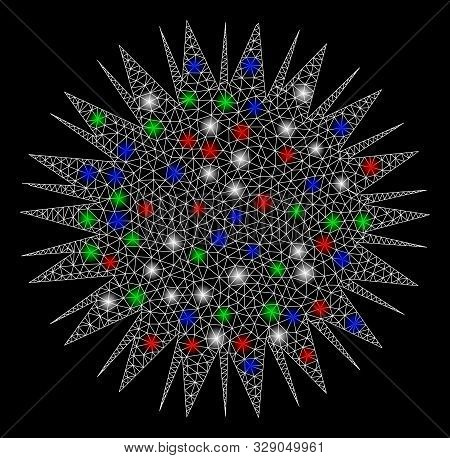 Bright Mesh Microbe Spore With Glare Effect. White Wire Carcass Polygonal Mesh In Vector Format On A