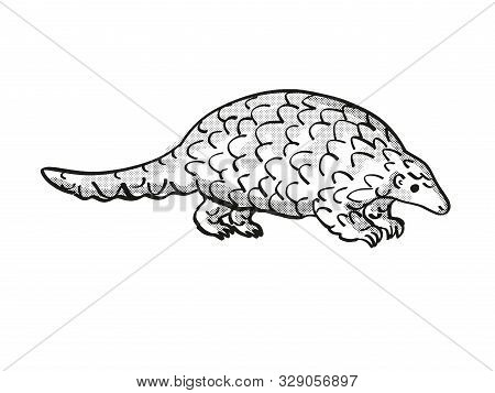 poster of Retro cartoon mono line style drawing of a ground pangolin, Smutsia temminckii,Temminck's pangolin, Cape pangolin, an endangered wildlife species on isolated white background done in black and white full body.