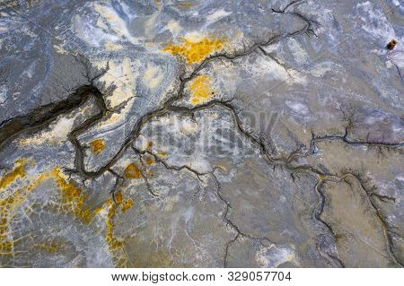Drought Land So Long Waterless. Dry River On Parched Ground. Ecological Disaster. Cracked Land. Land