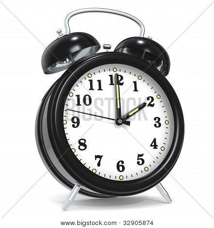 Classic alarm clock. Black. White background. Rendered. poster