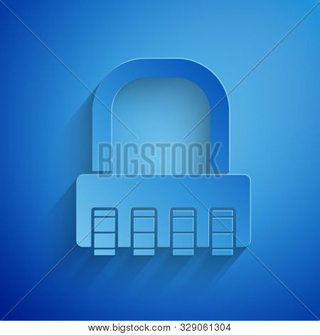 Paper cut Safe combination lock icon isolated on blue background. Combination padlock. Security, safety, protection, password, privacy. Paper art style. Vector Illustration poster