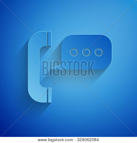 Paper Cut Telephone With Speech Bubble Chat Icon Isolated On Blue Background. Support Customer Servi