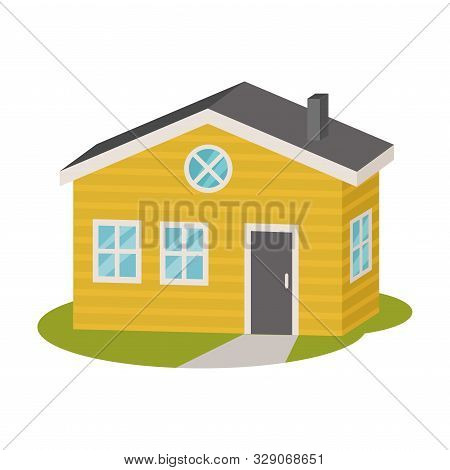 Spacious Yellow Modern Home In Simple Shape. Vector Illustration.