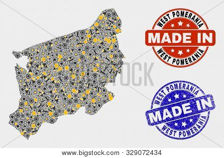 Mosaic Industrial West Pomeranian Voivodeship Map And Blue Made In Grunge Seal. Vector Geographic Ab