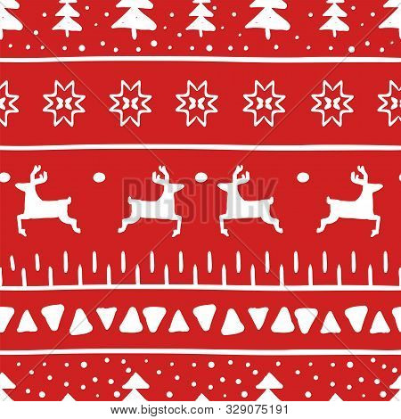 Simple Christmas Pattern With Reindeer, Christmas Trees, Stripes, Triangles And Christmas Stars. Pat