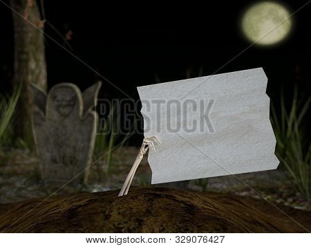 3d Rendering Of A Skeleton Hand Coming Out Of The Ground In A Cemetery At Night, Holding A Blank Whi