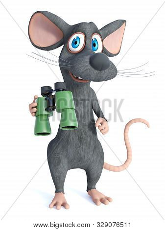 3d Rendering Of A Cute Smiling Cartoon Mouse Holding Binoculars. White Background.