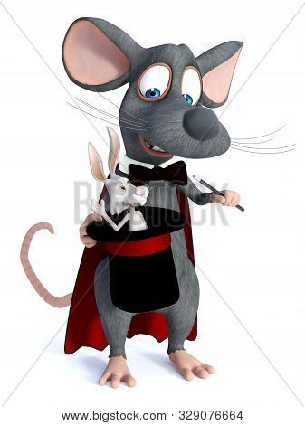 3d Rendering Of A Cute Cartoon Mouse Dressed As A Illusionist Or Magician, Holding A High Hat With A