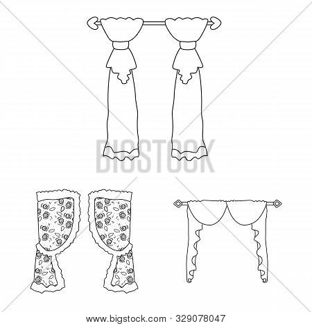 Isolated Object Of Fabric And Decoration Icon. Set Of Fabric And Cornice Stock Symbol For Web.