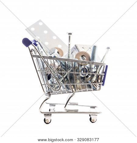 Cart Or Shopping Trolley Full Of Metal And Iron Hardware For Crafting, Concept Online Shopping Groce