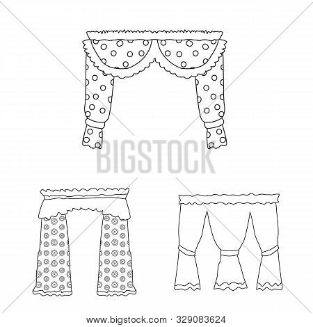 Vector Illustration Of Fabric And Decoration Sign. Collection Of Fabric And Cornice Stock Symbol For