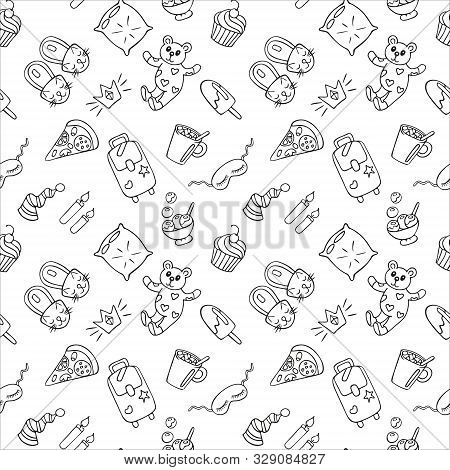 Seamless Pattern Of Objects For Pajama, Sleepover Or Slumber Party In Doodle Style. Hand Drawn Black