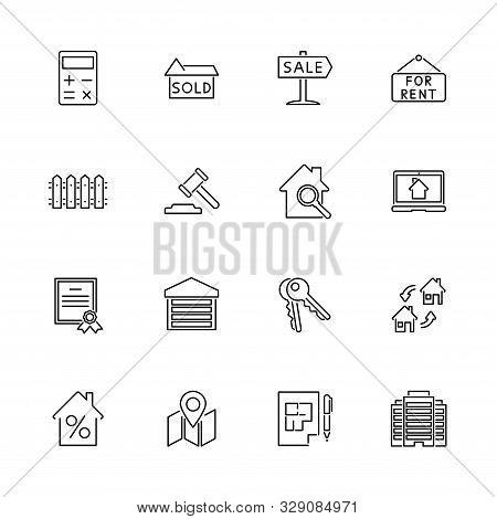 Real Estate, House Outline Icons Set - Black Symbol On White Background. Real Estate, House Simple I