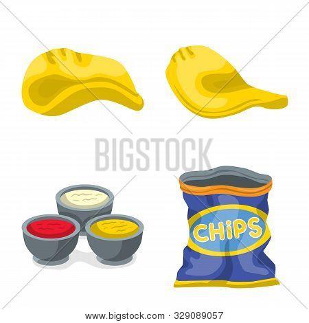 Vector Illustration Of Chips And Crisp Logo. Set Of Chips And Food Stock Vector Illustration.
