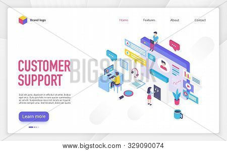 Customer Support Landing Page Vector Template. Call Center, Helpline, Hotline Website Homepage Inter