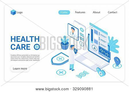 Health Care Landing Page Vector Template. Diagnostics Clinic, Hospital Website Homepage Ui Layout Wi