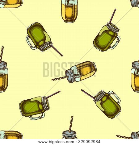 Seamless Pattern With Hand Drawn Colored Smothie Jars Stock Illustration