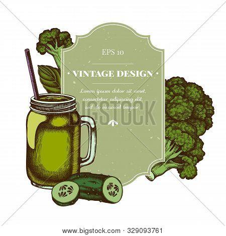 Badge Design With Colored Broccoli, Basil, Smothie Jars, Cucumber Stock Illustration