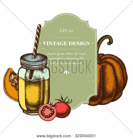 Badge Design With Colored Cherry Tomatoes, Pumpkin, Smothie Jars Stock Illustration