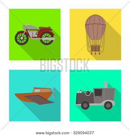 Vector Design Of Retro And Trip Symbol. Collection Of Retro And Mechanism Stock Vector Illustration.