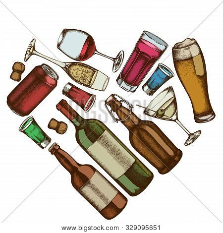 Heart Floral Design With Colored Glass, Champagne, Mug Of Beer, Alcohol Shot, Bottles Of Beer, Bottl
