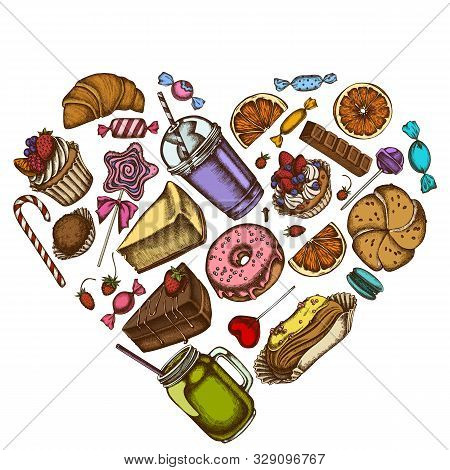 Heart Floral Design With Colored Cinnamon, Macaron, Lollipop, Bar, Candies, Oranges, Buns And Bread,